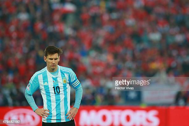 Lionel Messi of Argentina looks dejected during the 2015 Copa America Chile Final match between Chile and Argentina at Nacional Stadium on July 04...
