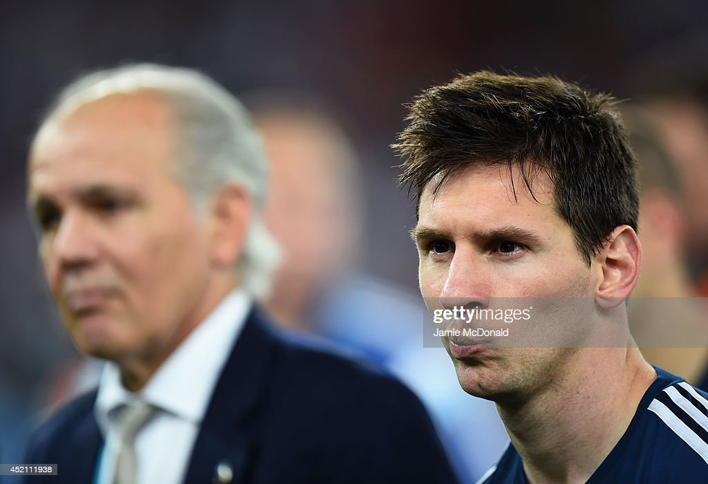 <a gi-track='captionPersonalityLinkClicked' href=/galleries/search?phrase=Lionel+Messi&family=editorial&specificpeople=453305 ng-click='$event.stopPropagation()'>Lionel Messi</a> of Argentina looks on after being defeated by Germany 1-0 during the 2014 FIFA World Cup Brazil Final match between Germany and Argentina at Maracana on July 13, 2014 in Rio de Janeiro, Brazil.