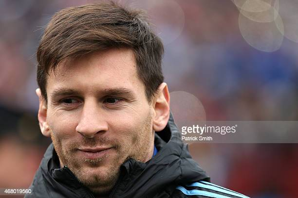 Lionel Messi of Argentina looks on before playing El Salvador during an International Friendly at FedExField on March 28 2015 in Landover Maryland