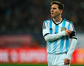 Lionel Messi of Argentina looks on during a friendly match between Romania and Argentina at Arena Nationala Stadium on March 05 2014 in Bucharest...