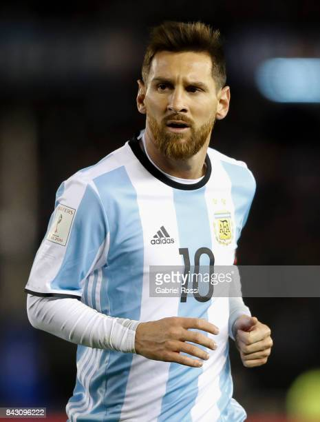 Lionel Messi of Argentina looks on during a match between Argentina and Venezuela as part of FIFA 2018 World Cup Qualifiers at Monumental Stadium on...