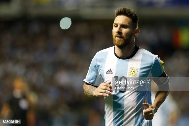 Lionel Messi of Argentina looks on during a match between Argentina and Peru as part of FIFA 2018 World Cup Qualifiers at Estadio Alberto J Armando...