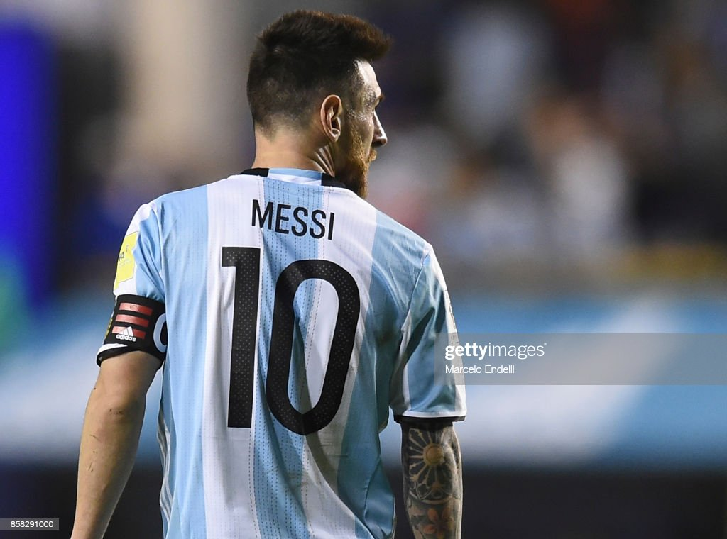 Lionel Messi of Argentina looks on during a match between Argentina and Peru as part of FIFA 2018 World Cup Qualifiers at Estadio Alberto J. Armando on October 5, 2017 in Buenos Aires, Argentina.