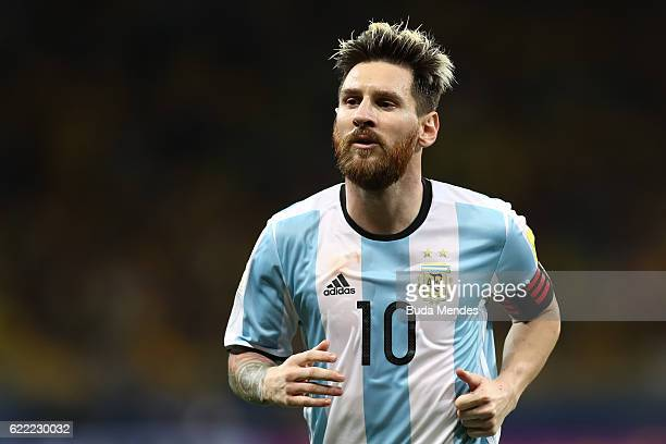 Lionel Messi of Argentina looks on during a match between Brazil and Argentina as part of 2018 FIFA World Cup Russia Qualifier at Mineirao stadium on...
