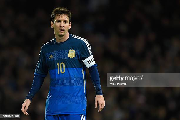 Lionel Messi of Argentina looks on during an International Friendly between Argentina and Croatia at Boleyn Ground on November 12 2014 in London...