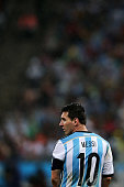Lionel Messi of Argentina looks on during the 2014 FIFA World Cup Brazil Semi Final match between the Netherlands and Argentina at Arena de Sao Paulo...