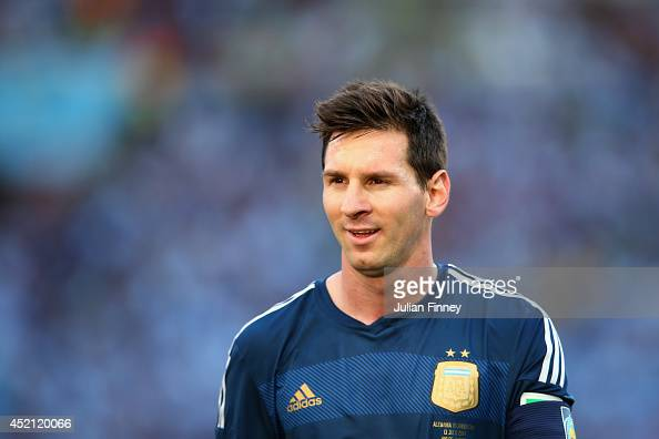 Lionel Messi of Argentina looks on during the 2014 FIFA World Cup Brazil Final match between Germany and Argentina at Maracana on July 13 2014 in Rio...