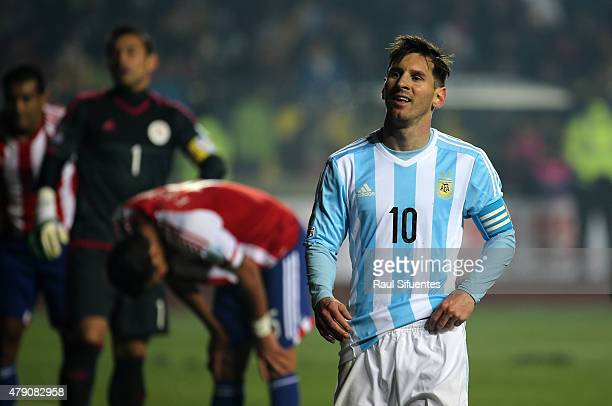 Lionel Messi of Argentina looks on during the 2015 Copa America Chile Semi Final match between Argentina and Paraguay at Ester Roa Rebolledo Stadium...