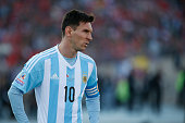 Lionel Messi of Argentina looks on during the 2015 Copa America Chile Final match between Chile and Argentina at Nacional Stadium on July 04 2015 in...