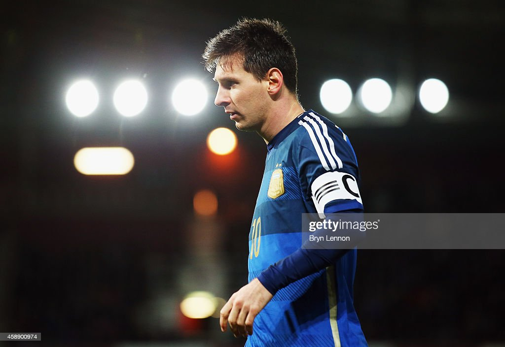 Lionel Messi of Argentina looks on during the International Friendly between Argentina and Croatia at Boleyn Ground on November 12 2014 in London...