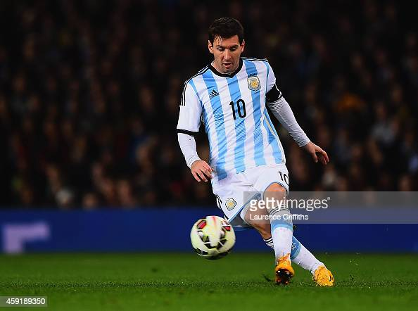 Lionel Messi of Argentina on the ball during the International Friendly between Argentina and Portugal at Old Trafford on November 18 2014 in...