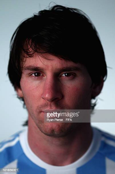 Lionel Messi of Argentina poses during the official FIFA World Cup 2010 portrait session on June 5 2010 in Pretoria South Africa