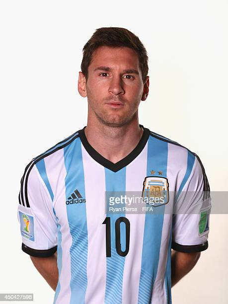 Lionel Messi of Argentina poses during the official FIFA World Cup 2014 portrait session on June 10 2014 in Belo Horizonte Brazil