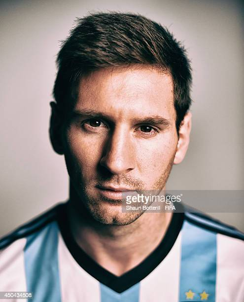 FILTERS Lionel Messi of Argentina poses during the official FIFA World Cup 2014 portrait session on June 10 2014 in Belo Horizonte Brazil