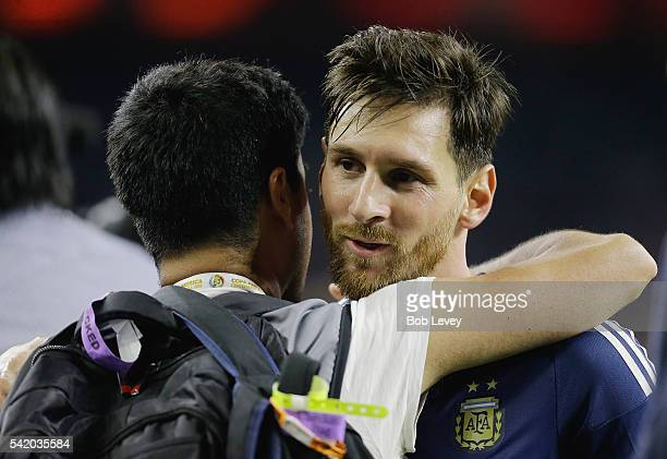 Lionel Messi of Argentina reacts after defeating the United States 40 in a 2016 Copa America Centenario Semifinal match at NRG Stadium on June 21...