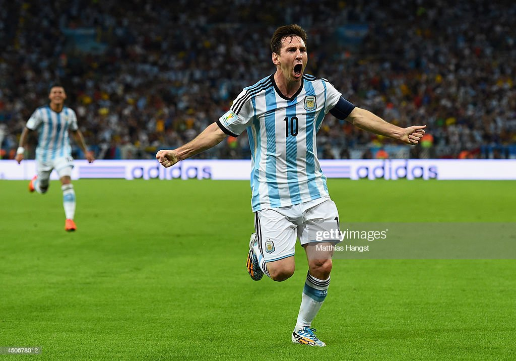 <a gi-track='captionPersonalityLinkClicked' href=/galleries/search?phrase=Lionel+Messi&family=editorial&specificpeople=453305 ng-click='$event.stopPropagation()'>Lionel Messi</a> of Argentina reacts after scoring his team's second goal during the 2014 FIFA World Cup Brazil Group F match between Argentina and Bosnia-Herzegovina at Maracana on June 15, 2014 in Rio de Janeiro, Brazil.