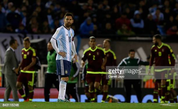 Lionel Messi of Argentina reacts after Venezuela scored the equalizer during a match between Argentina and Venezuela as part of FIFA 2018 World Cup...