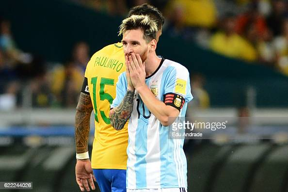 Lionel Messi of Argentina reacts during a match between Argentina and Brazil as part of FIFA 2018 World Cup Qualifiers at Mineirao Stadium on...