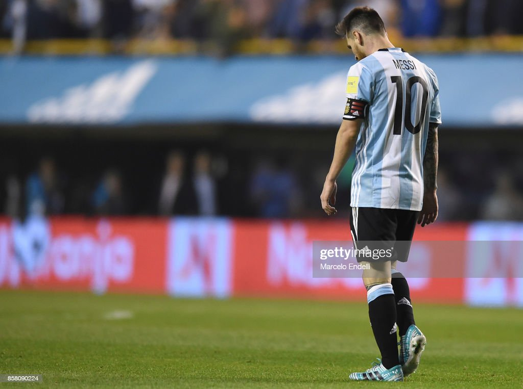 Lionel Messi of Argentina reacts during a match between Argentina and Peru as part of FIFA 2018 World Cup Qualifiers at Estadio Alberto J. Armando on October 5, 2017 in Buenos Aires, Argentina.