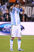 Lionel Messi of Argentina reacts during the championship match between Argentina and Chile at MetLife Stadium as part of Copa America Centenario US...