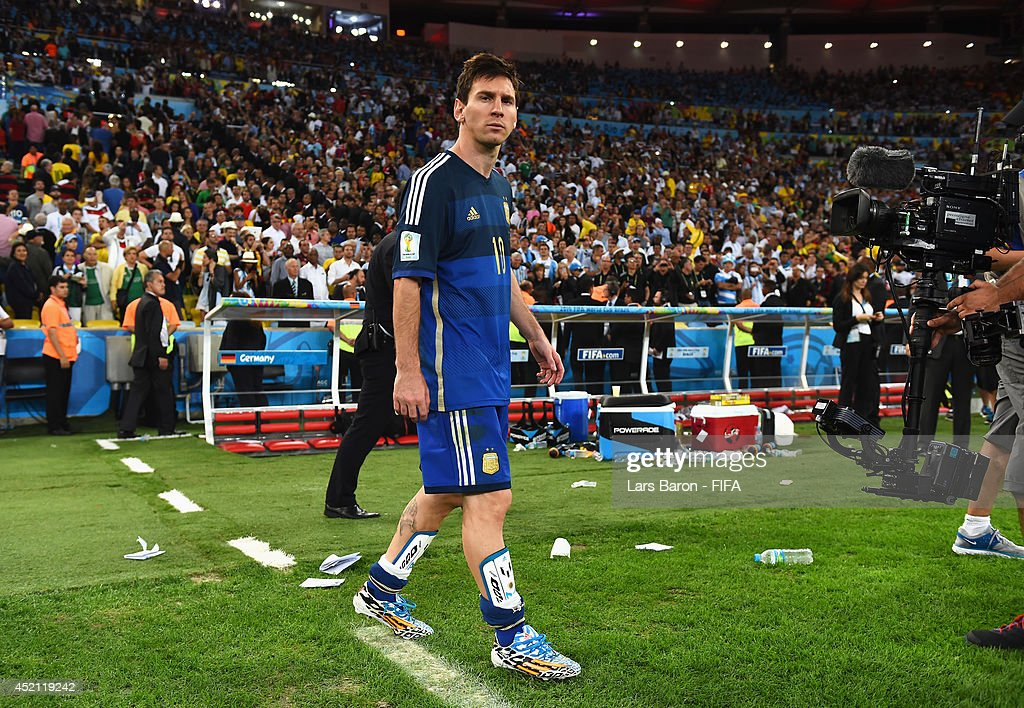 Lionel Messi of Argentina shows his dejection after the 0-1 defeat in the 2014 FIFA World Cup Brazil Final match between Germany and Argentina at Maracana on July 13, 2014 in Rio de Janeiro, Brazil.