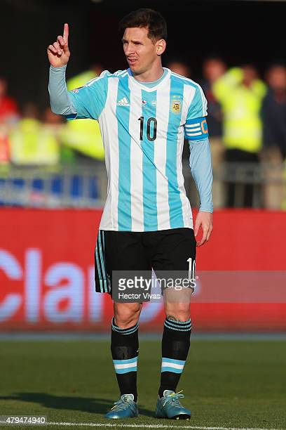 Lionel Messi of Argentina signals during the 2015 Copa America Chile Final match between Chile and Argentina at Nacional Stadium on July 04 2015 in...