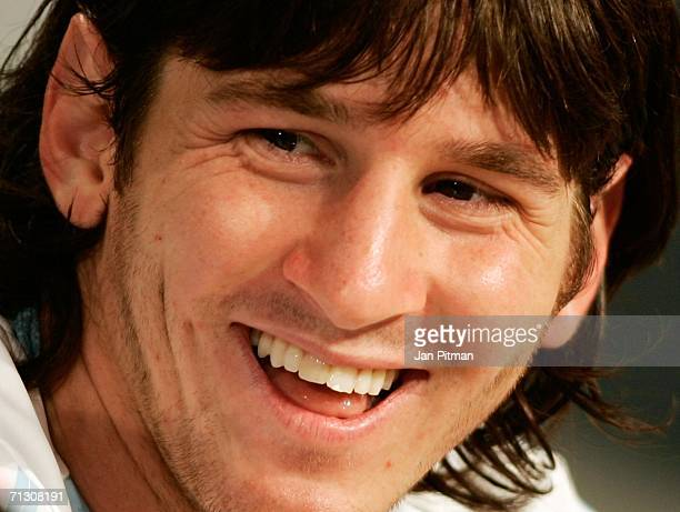 Lionel Messi of Argentina smiles during a press conference at the AdiDassler Sports Field on June 27 2006 in Herzogenaurach Germany Argentina plays...