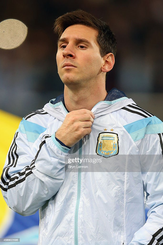 Lionel Messi of Argentina stands during the playing of national anthems prior to the International Friendly between Argentina and Croatia at Boleyn Ground on November 12, 2014 in London, England.