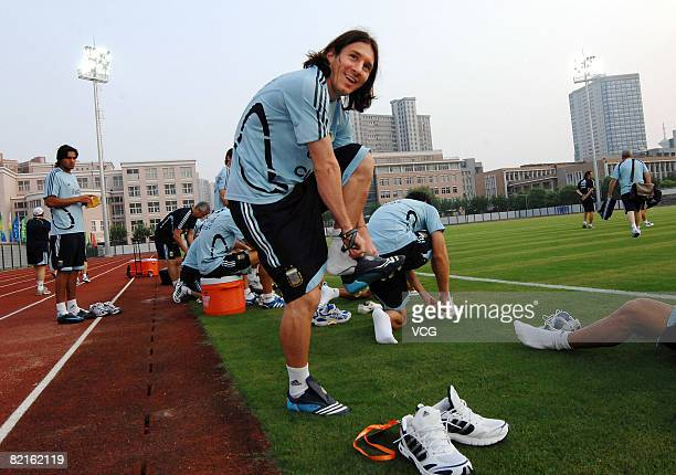 Lionel Messi of Argentina trains for the Beijing 2008 Olympic Games on August 2 2008 in Shanghai China