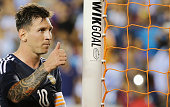 Lionel Messi of Argentina walks off the field after scoring two goals on the way to a 70 victory during their International friendly match against...