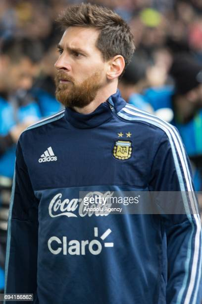 Lionel Messi of Argentina walks onto the field before a friendly football international between Argentina and Brazil at the Melbourne Cricket Ground...