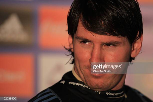 Lionel Messi of Argentina's national football team speaks to the media during a press conference on June 13 2010 in Pretoria South Africa