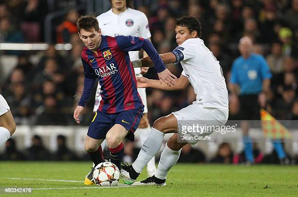 Lionel Messi of Barcelona and Thiago Silva of PSG in action to the UEFA Champions League Group F match between FC Barcelona and Paris SaintGermain FC...