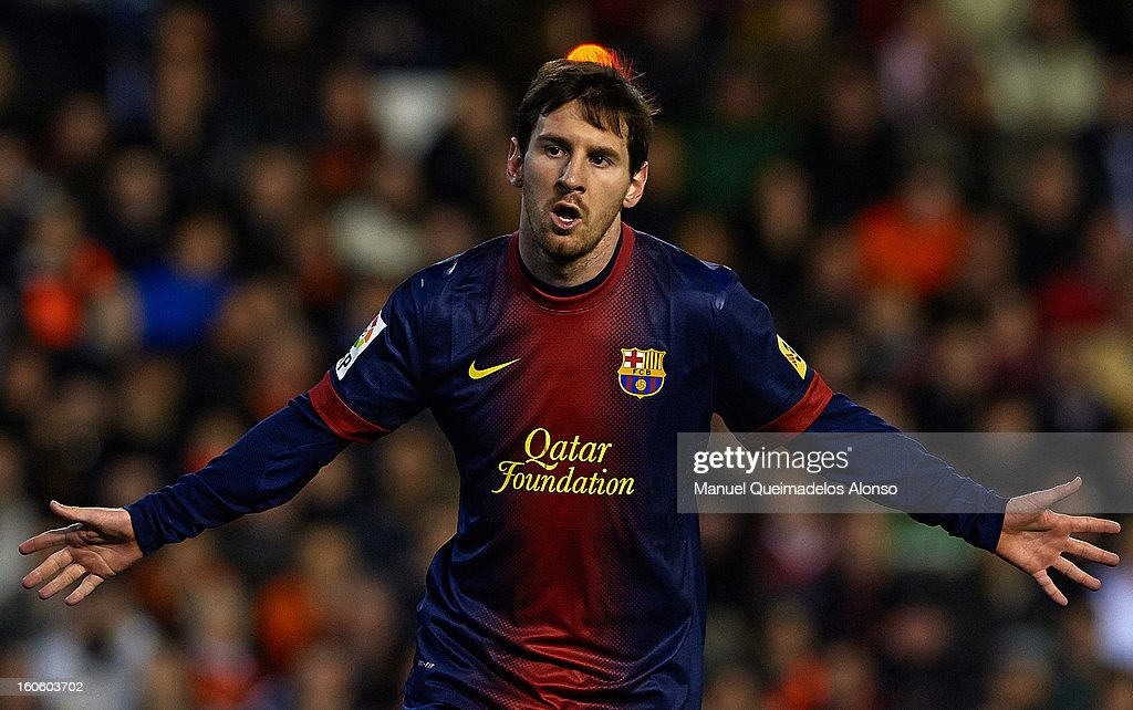 <a gi-track='captionPersonalityLinkClicked' href=/galleries/search?phrase=Lionel+Messi&family=editorial&specificpeople=453305 ng-click='$event.stopPropagation()'>Lionel Messi</a> of Barcelona celebrates after scoring during the La Liga match between Valencia and Barcelona Estadio Mestalla on February 3, 2013 in Valencia, Spain.