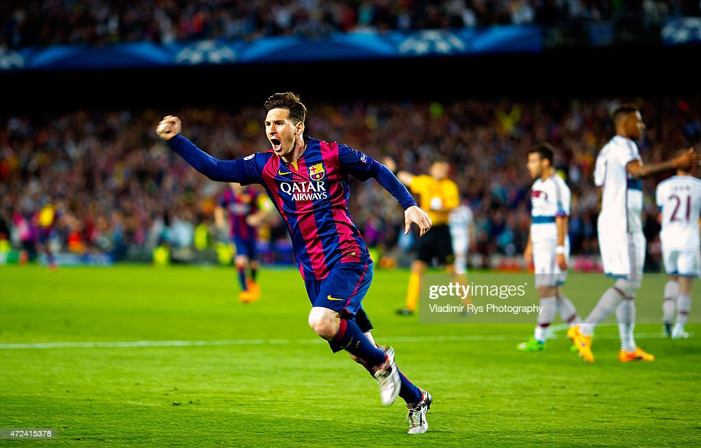 Lionel Messi of Barcelona celebrates after scoring his first goal during the first leg of UEFA Champions League semifinal match between FC Barcelona...