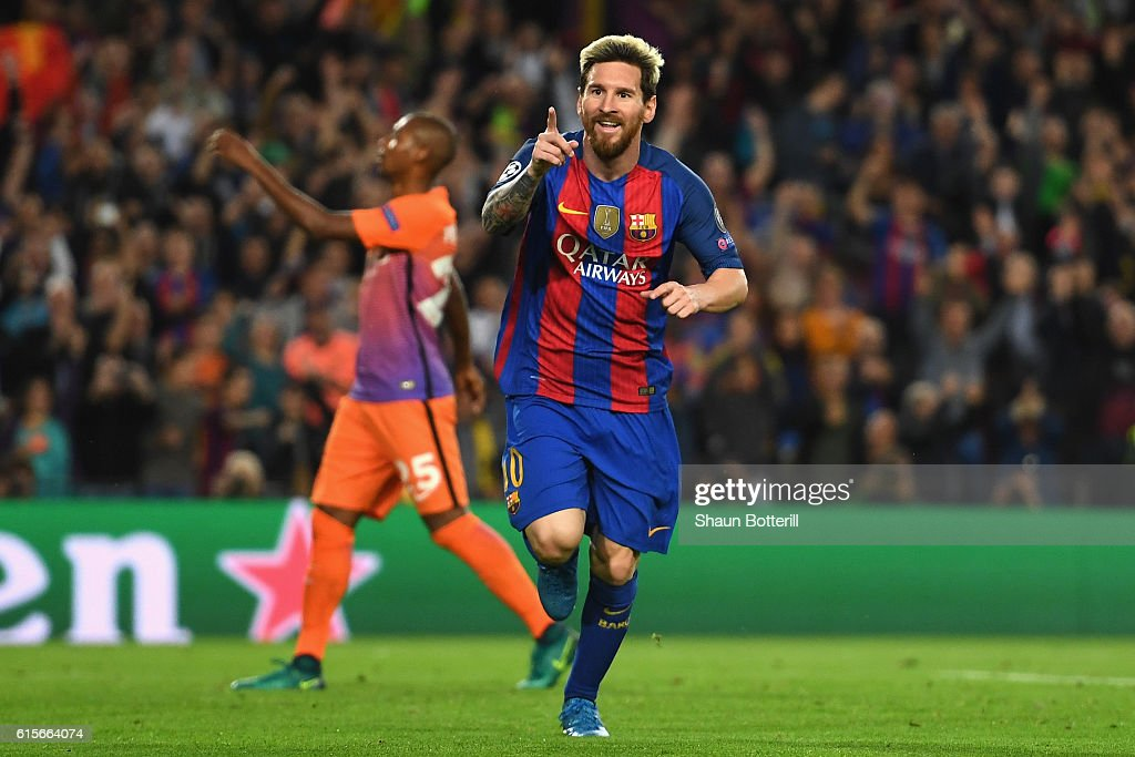 Lionel Messi of Barcelona celebrates after scoring his third and his team's third goal of the game during the UEFA Champions League group C match between FC Barcelona and Manchester City FC at Camp Nou on October 19, 2016 in Barcelona, Spain.