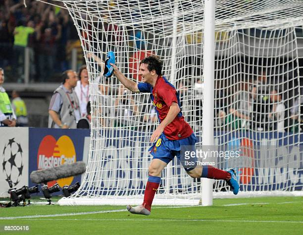 Lionel Messi of Barcelona celebrates after scoring the 2nd goal during the UEFA Champions League Final match between Barcelona and Manchester United...