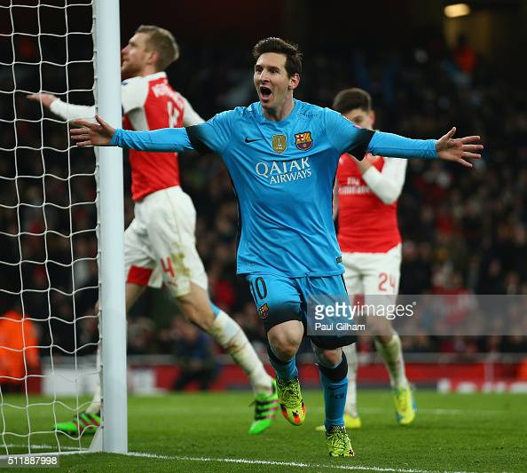 Lionel Messi of Barcelona celebrates after scoring the opening goal during the UEFA Champions League round of 16 first leg match between Arsenal and...