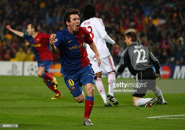 Lionel Messi of Barcelona celebrates his goal during the UEFA Champions League quarter final first leg match between FC Barcelona and FC Bayern...