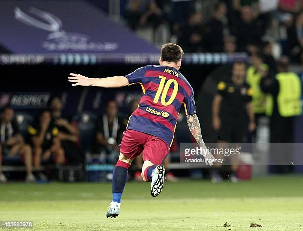 Lionel Messi of Barcelona celebrates his goal during the UEFA Super Cup match between Barcelona and Sevilla at Boris Paichadze Dinamo Arena in...