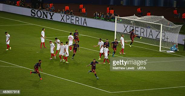 Lionel Messi of Barcelona celebrates scoring his first goal during the UEFA Super Cup between Barcelona and Sevilla FC at Dinamo Arena on August 11...