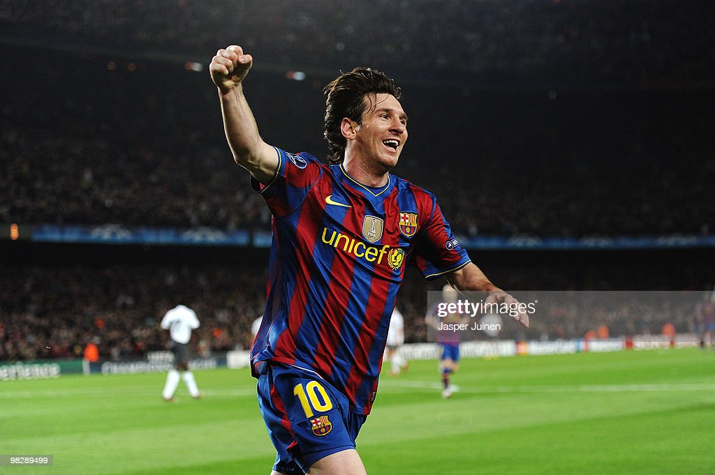 Lionel Messi of Barcelona celebrates scoring his fourth goal during the UEFA Champions League quarter final second leg match between Barcelona and...