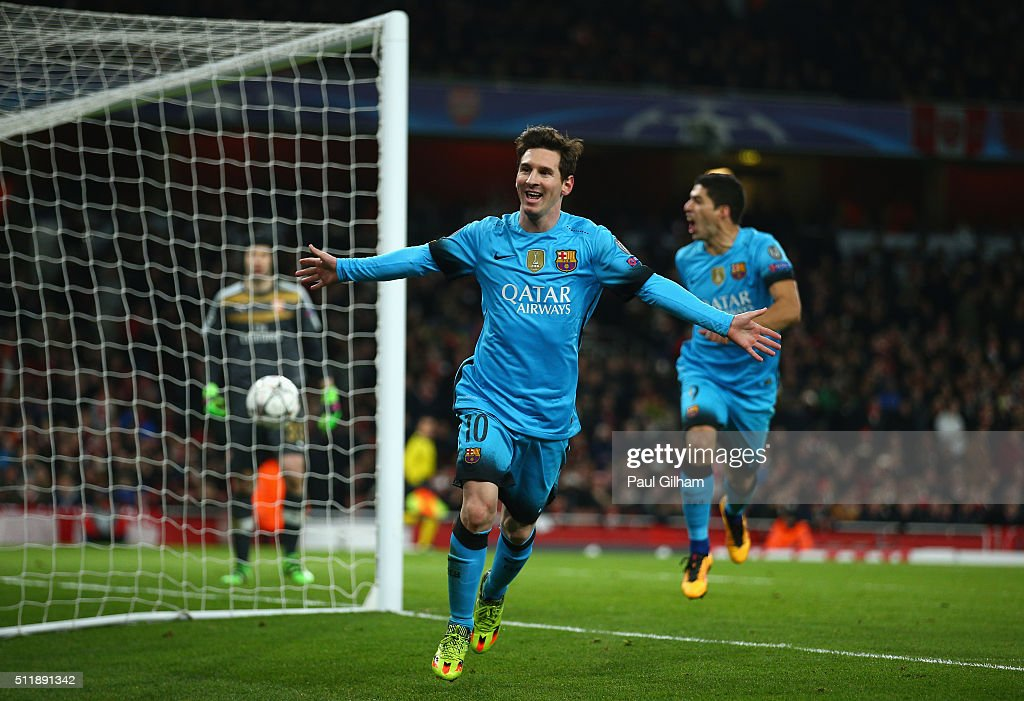 <a gi-track='captionPersonalityLinkClicked' href=/galleries/search?phrase=Lionel+Messi&family=editorial&specificpeople=453305 ng-click='$event.stopPropagation()'>Lionel Messi</a> of Barcelona celebrates scoring his second goal during the UEFA Champions League round of 16 first leg match between Arsenal and Barcelona on February 23, 2016 in London, United Kingdom.