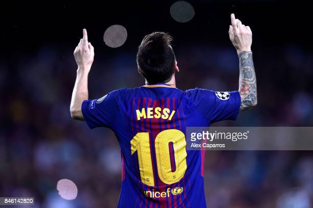 Lionel Messi of Barcelona celebrates scoring his sides first goal during the UEFA Champions League Group D match between FC Barcelona and Juventus at...