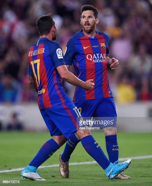 Lionel Messi of Barcelona celebrates scoring his sides third goal with Paco Alcacer of Barcelona during the La Liga match between Barcelona and Eibar...