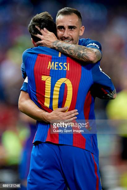 Lionel Messi of Barcelona celebrates scoring his team's first goal with his team mate Paco Alcacer during the Copa Del Rey Final match between FC...