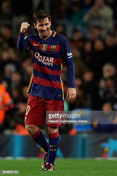 Lionel Messi of Barcelona celebrates scoring his team's second goal during the Copa del Rey Round of 16 match between FC Barcelona and Real CD...