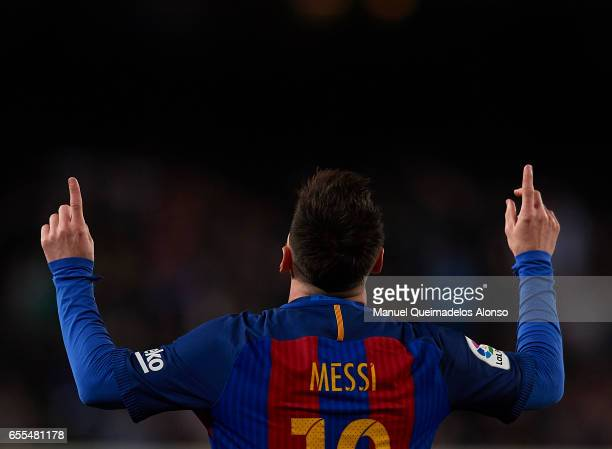 Lionel Messi of Barcelona celebrates scoring his team's third goal during the La Liga match between FC Barcelona and Valencia CF at Camp Nou Stadium...