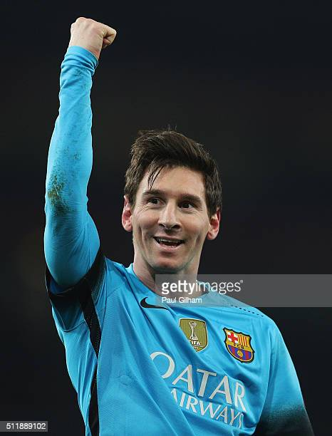 Lionel Messi of Barcelona celebrates scoring jis second goal during the UEFA Champions League round of 16 first leg match between Arsenal and...