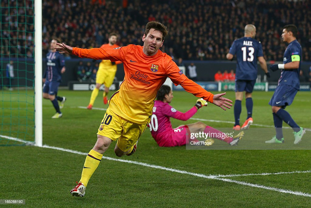 Lionel Messi of Barcelona celebrates scoring the opening goal during the UEFA Champions League Quarter Final match between Paris Saint-Germain and Barcelona FCB at Parc des Princes on April 2, 2013 in Paris, France.